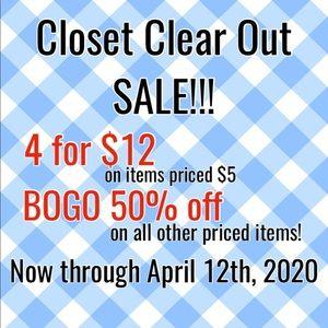 SALE!!! 4 for $12 or BOGO 50% off!